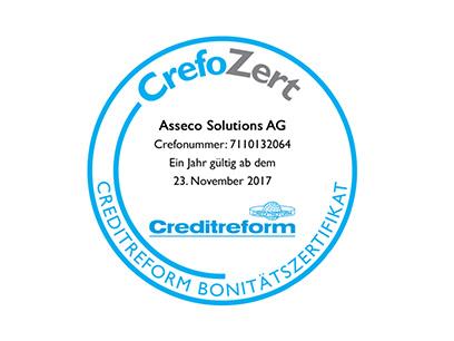 Zum vierten Mal in Folge: Asseco Solutions erhält Bonitätszertifikat der Creditreform