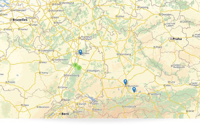Mit der Kartenanbindung PTV sind Standortinformationen und Standortdaten stets im Blick.