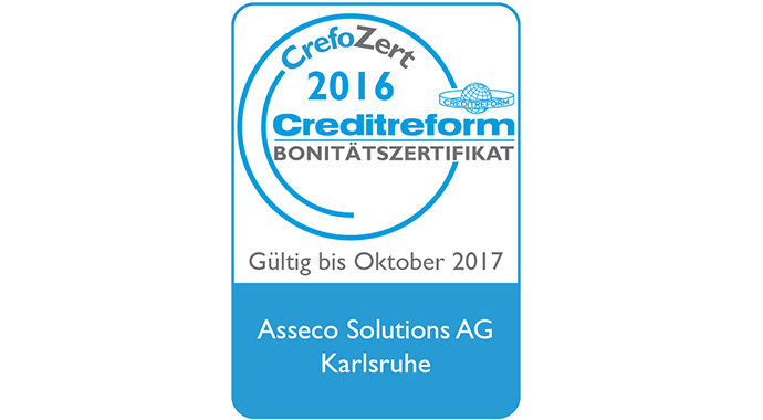 Außergewöhnlich gute Bonität: Asseco Solutions erneut mit Creditreform-Zertifizierung ausgezeichnet